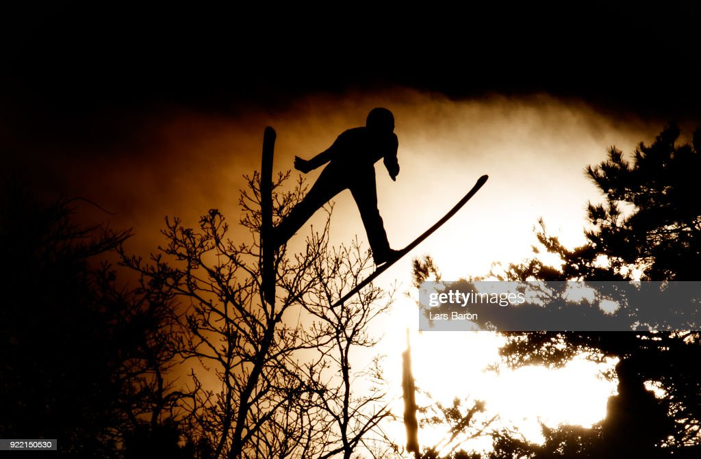 An athlete is seen on the Large Hill during Nordic Combined Individual Gundersen training session on February 21, 2018 in Pyeongchang-gun, South Korea.