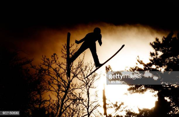 An athlete is seen on the Large Hill during Nordic Combined Individual Gundersen training session on February 21, 2018 in Pyeongchang-gun, South...