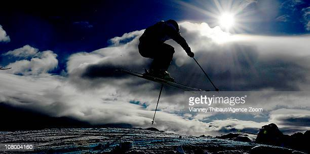 An athlete jumps during the FIS Freestyle World Cup Men's Ski Cross on January 12 2011 in Alpe d'Huez France