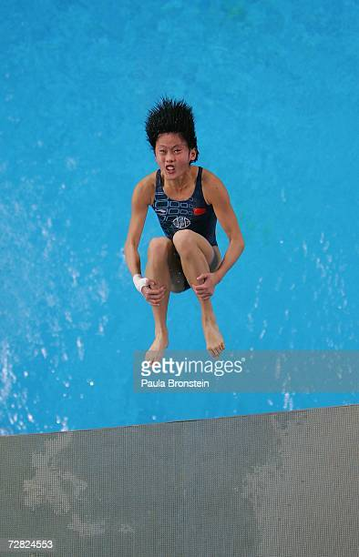 An athlete jumps off the 3 meter springboard during diving pratice at the 15th Asian Games in Doha Qatar December 9 2006 The games features 45...