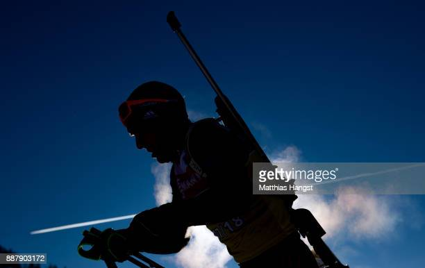 An athlete leaves the shooting range during the Official Training prior to the BMW IBU World Cup Biathlon on December 7, 2017 in Hochfilzen, Austria.