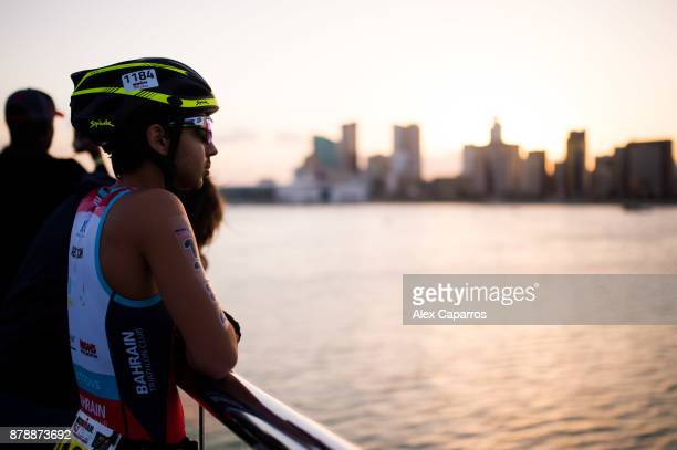 An athlete looks on ahead of IRONMAN 703 Middle East Championship Bahrain on November 25 2017 in Bahrain Bahrain