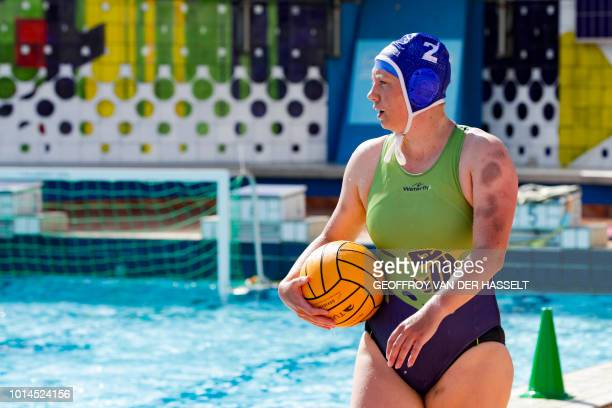 An athlete looks on during the water polo competition of the 2018 Gay Games edition at The Roger Le Gall swimming pool in Paris on August 10 2018