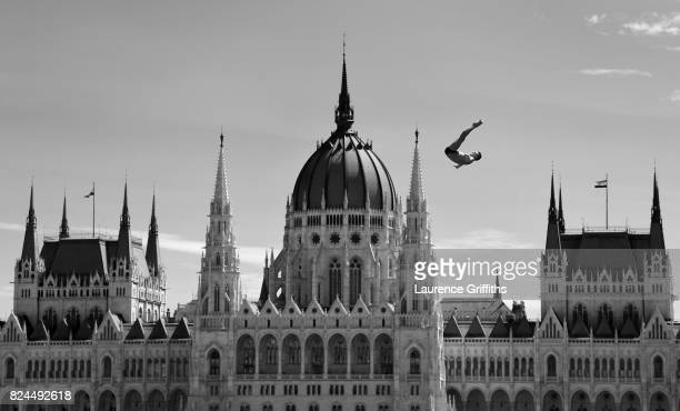 An athlete makes a practice dive prior to the Men's High dive on day seventeen of the Budapest 2017 FINA World Championships on on July 30 2017 in...