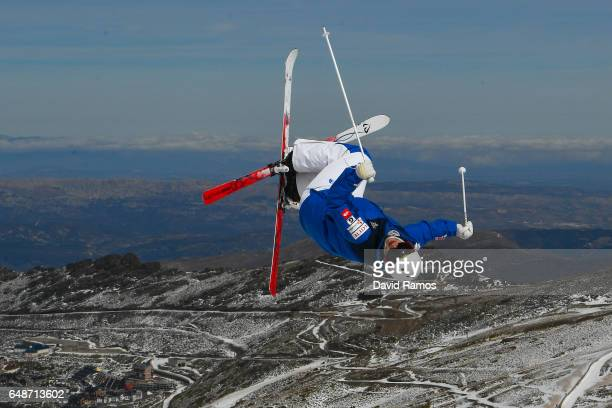 An athlete makes a run during moguls training ahead of FIS Freestyle Ski Snowboard World Championships 2017 on March 6 2017 in Sierra Nevada Spain