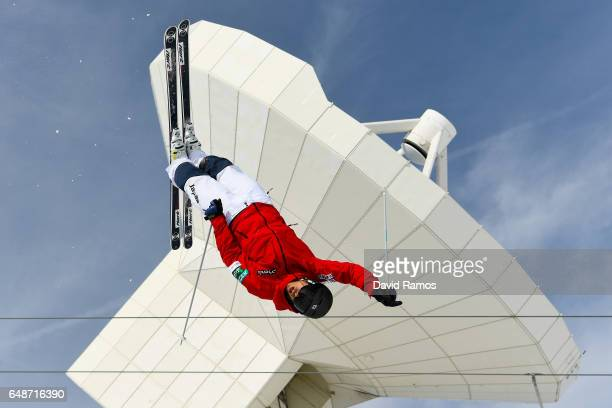 An athlete makes a run during moguls training ahead of FIS Freestyle Ski & Snowboard World Championships 2017 on March 6, 2017 in Sierra Nevada,...