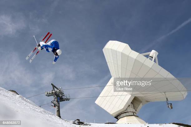 An Athlete makes a run during moguls training ahead of the FIS Freestyle Ski & Snowboard World Championships 2017 on March 6, 2017 in Sierra Nevada,...