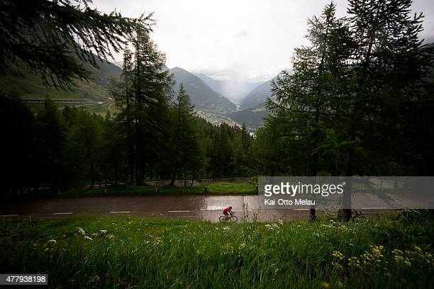 An athlete on the bike towards the Gotthard Pass during Swissman Xtreme Triathlon on June 20 2015 in Interlaken Switzerland Swissman is an extreme...