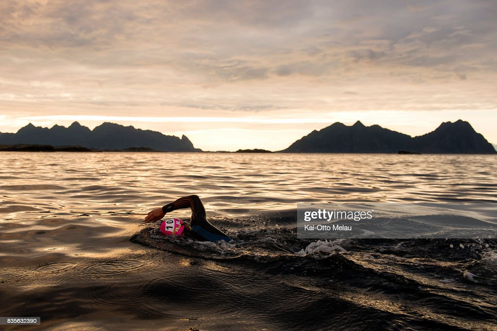 An athlete on the swimleg at The Arctic Triple // Lofoten Triathlon Extreme distance on August 19, 2017 in Svolvar, Norway. Lofoten Triathlon is one of three races organized under The Arctic Triple banner, the others being Lofoten Skimo and Lofoten Ultra-Trail.