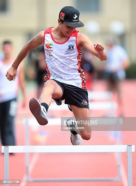 An athlete particiaptes in the hurdles during the Raise the Bar Academy presented by The University of Melbourne Athletics Australia on January 20...