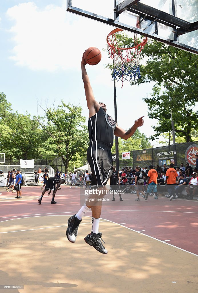 An athlete participates in a basketball game during the Launch of the new Reebok Question Mid EBC & A5 with Cam'ron and Jadakiss at Rucker Park on August 4, 2016 in New York City.