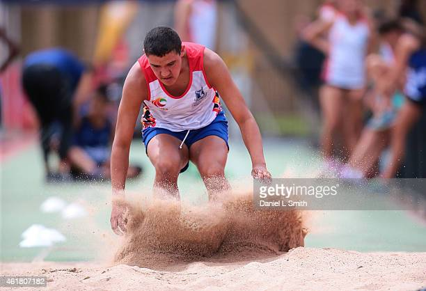 An athlete participates in long jump during the Raise the Bar Academy presented by The University of Melbourne Athletics Australia on January 20 2015...
