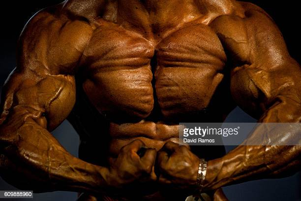 An athlete poses for the judges during the bodybuilding competition as part of the Arnold Classic Europe 2016 on September 23 2016 in Barcelona Spain