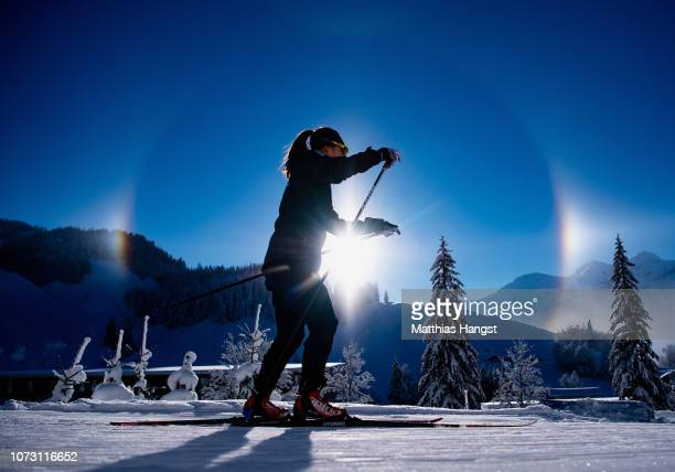 An athlete practices during the Official Training for the IBU Biathlon World Cup Women's 10 km Pursuit on December 14, 2018 in Hochfilzen, Austria.