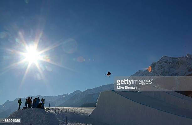 An athlete practices during training for Snowboard Slopestyle at the Extreme Park at Rosa Khutor Mountain on February 5 2014 in Sochi Russia