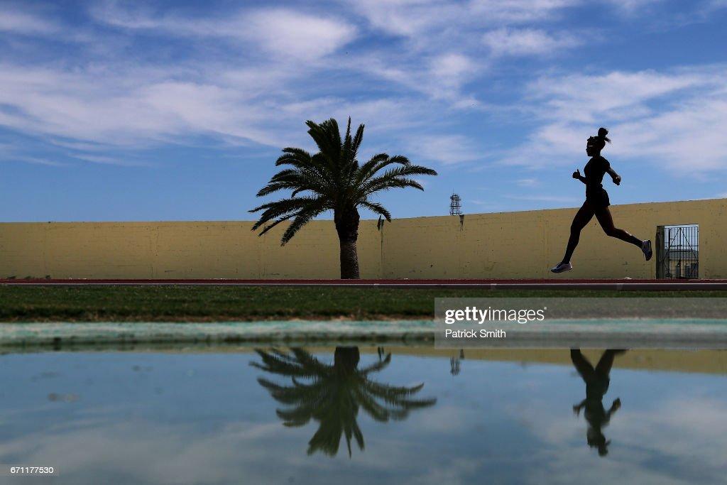 An athlete practices prior to the IAAF / BTC World Relays Bahamas 2017 at the Thomas Robinson Stadium on April 21, 2017 in Nassau, Bahamas.