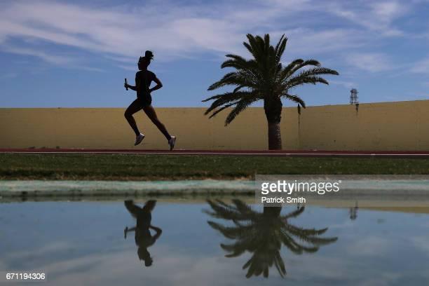 An athlete practices prior to the IAAF / BTC World Relays Bahamas 2017 at the Thomas Robinson Stadium on April 21 2017 in Nassau Bahamas