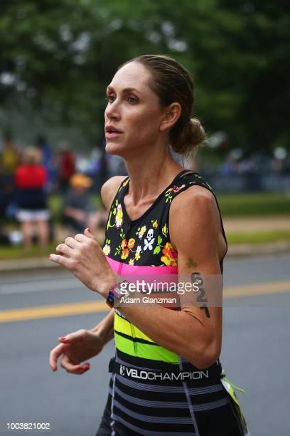An athlete runs during the Columbia Threadneedle Investments Boston Triathlon on July 22 2018 in Boston Massachusetts
