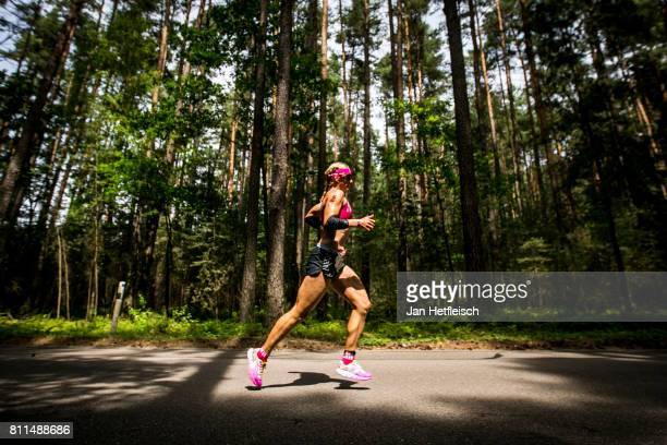 An athlete runs in the first lap of the DATEV Challenge Roth 2017 on July 9 2017 in Roth Germany