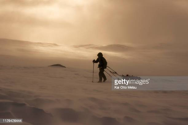 An athlete skiing at Expedition Amundsen on March 7 2019 in Eidfjord Norway Expedition Amundsen is known as the world's hardest expedition race with...