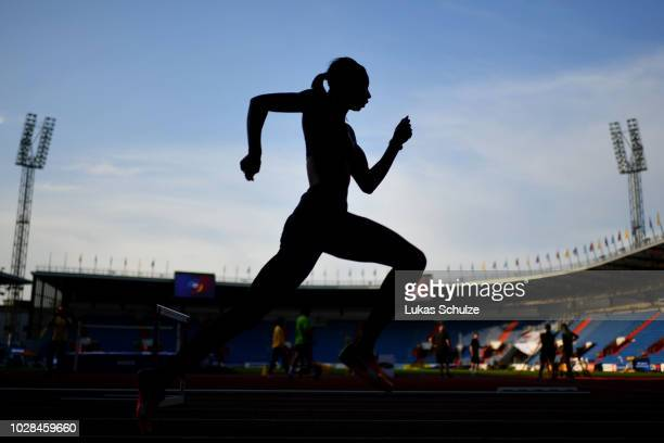 An athlete takes part in practice prior to the IAAF Continental Cup at Mestsky Stadium on September 7 2018 in Ostrava Czech Republic