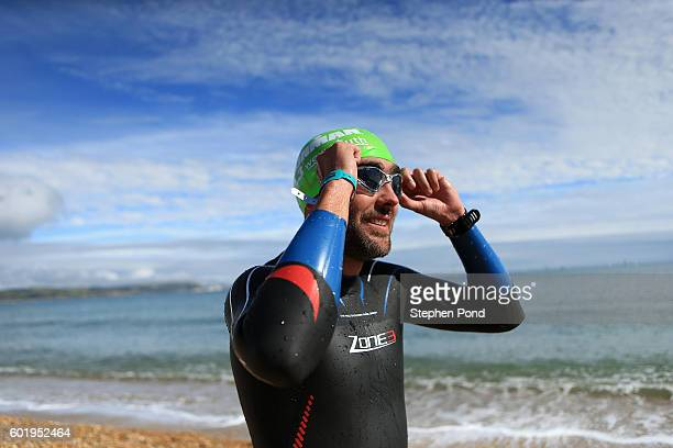 An athlete takes part in swim practice ahead of Ironman Weymouth on September 10 2016 in Weymouth England