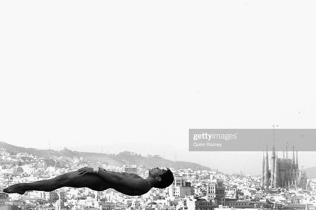 An athlete trains ahead of the 15th FINA World Championships at Piscina Municipal de Montjuic on July 19, 2013 in Barcelona, Spain.