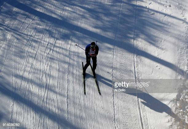 An Athlete trains at The Alpensia CrossCountry Centre during previews ahead of the PyeongChang 2018 Winter Olympic Games at on February 4 2018 in...