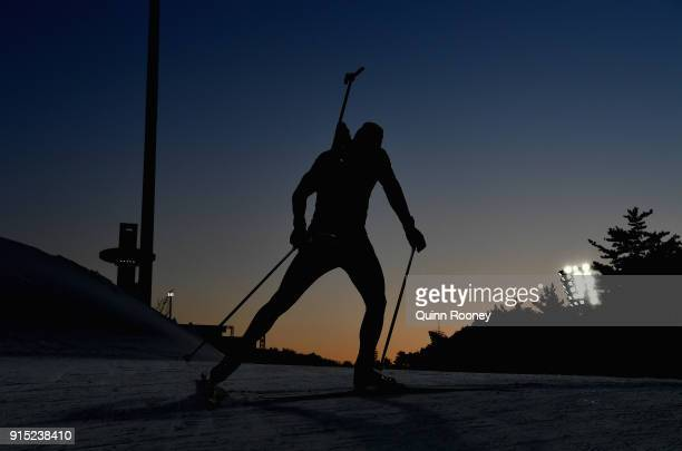 An athlete trains during Biathlon pracitce ahead of the PyeongChang 2018 Winter Olympic Games at Alpensia Biathlon Centre on February 7 2018 in...