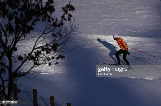 An athlete trains during Cross-Country Skiing practice ahead of the PyeongChang 2018 Winter Olympic Games at Alpensia Cross-Country Skiing Centre on...