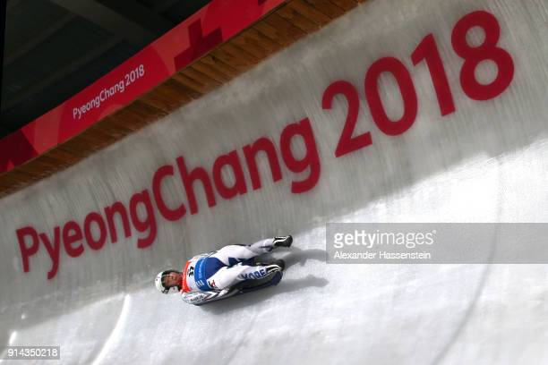 An athlete trains during previews ahead of the PyeongChang 2018 Winter Olympic Games at Olympic Sliding Centre on February 5, 2018 in...