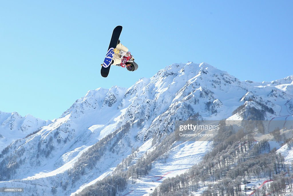 An athlete trains during Snowboard Slopestyle practice at the Extreme Park at Rosa Khutor Mountain ahead of the Sochi 2014 Winter Olympics on February 3, 2014 in Sochi, Russia