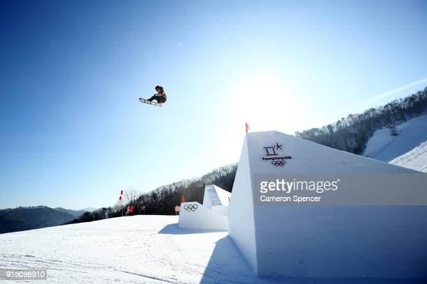 An athlete trains during the Snowboard practice session during previews ahead of the PyeongChang 2018 Winter Olympic Games at Phoenix Snow Park on...