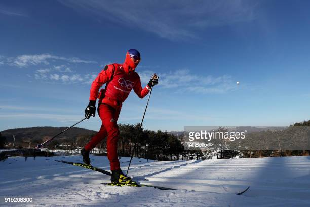 An athlete trains for CrossCountry Skiing ahead of the PyeongChang 2018 Winter Olympic Games at Alpensia CrossCountry Centre on February 7 2018 in...