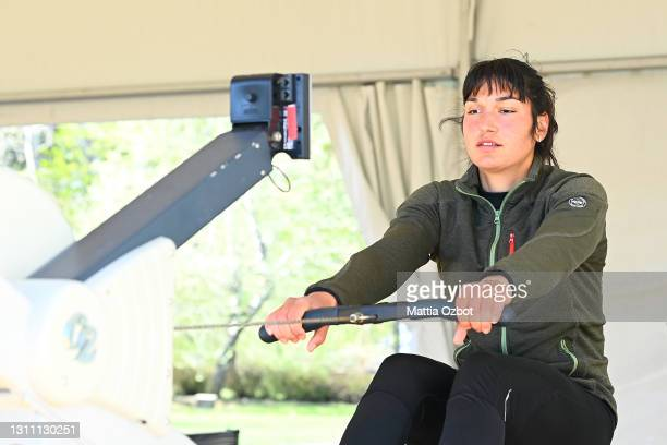 An athlete trains on the rowing machine during day two of the 2021 World Rowing European Olympic and Paralympic Qualification Regatta on April 06,...