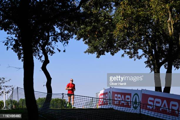 An athlete warms up ahead of the European Cross Country Championships at the Parque da Bela Vista on December 07 2019 in Lisbon Portugal