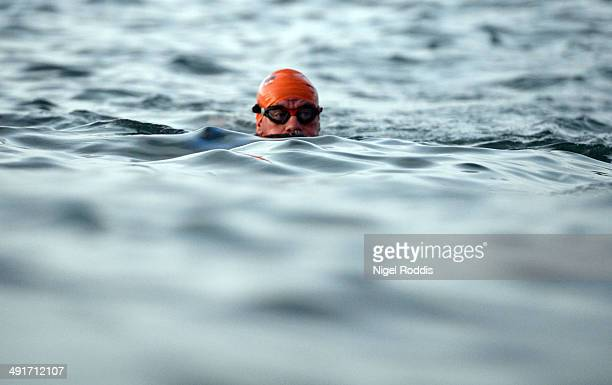 An athletes competes along the 38 km swim course during Ironman Lanzarote at Playa Grande Puerto del Carmen on May 17 2014 in Lanzarote Spain