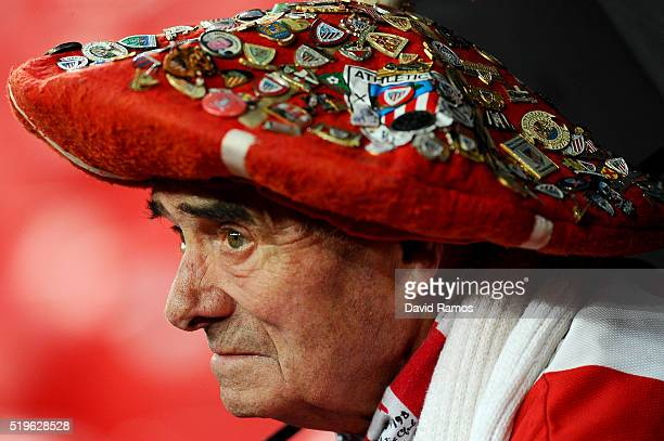 An Athletic Bilbao fan looks on prior to the UEFA Europa League quarter final first leg match between Athletic Bilbao and Sevilla at San Mames...