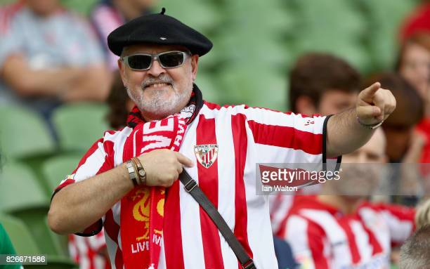 An Athletic Club fan enjoys the prematch atmospheer prior to the Pre Season Friendly match between Liverpool and Athletic Club at Aviva Stadium on...