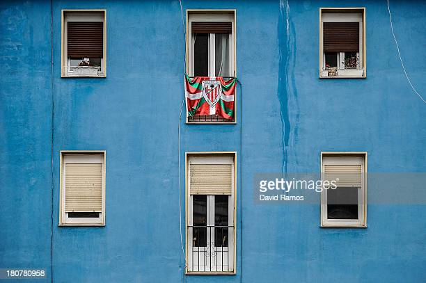 An Athletic Club flag hangs on a balcony on September 16 2013 in Bilbao Spain