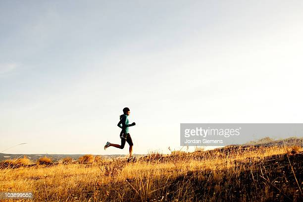 an athletic woman trail running. - cross country running stock pictures, royalty-free photos & images