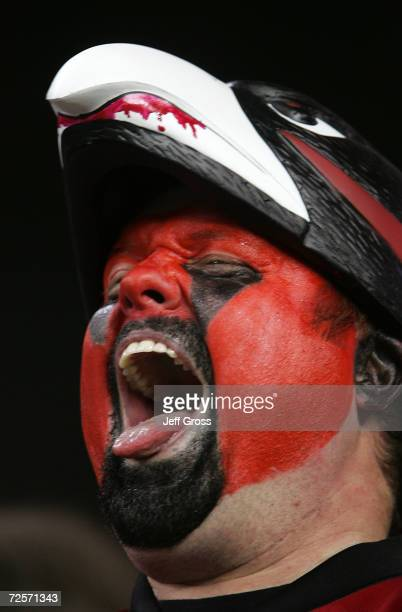 An Atlanta Falcons fan shouts during warm ups before the NFC Divisional Playoff game against St Louis Rams at the Georgia Dome on January 15 2005 in...
