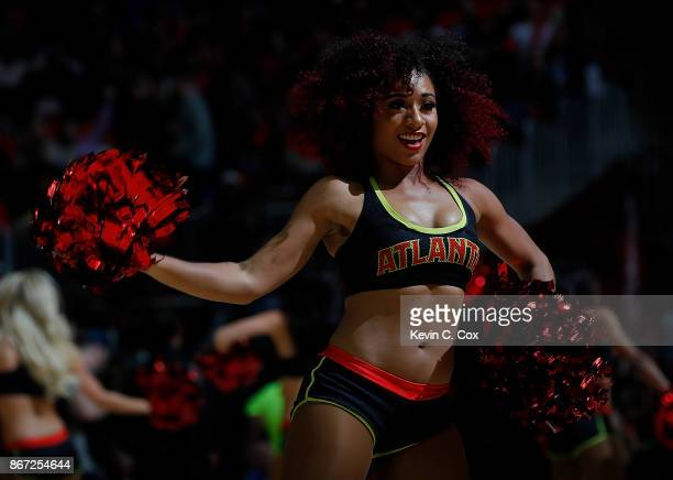 An Atlanta Hawks cheerleader performs during the game against the Denver Nuggets at Philips Arena on October 27 2017 in Atlanta Georgia NOTE TO USER...