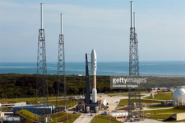 An Atlas V-551 launch vehicle at Cape Canaveral Air Force Station in Florida.