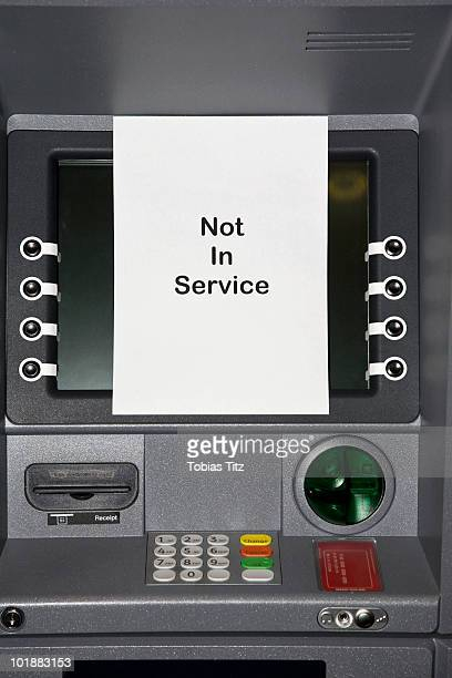 An ATM with a sign stating NOT IN SERVICE,  Melbourne, Victoria, Australia