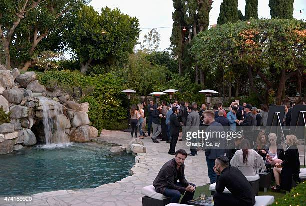 An atmosphere shot of the cocktail hour during an advance screening of Entourage at the Playboy Mansion on May 20, 2015 in Los Angeles, California.
