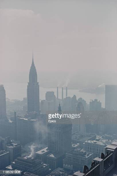 An atmospheric view of the Chrysler building and surrounding New York skyline