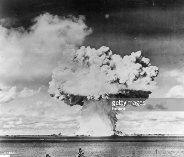 An atomic bomb test explosion off Bikini Atoll Micronesia