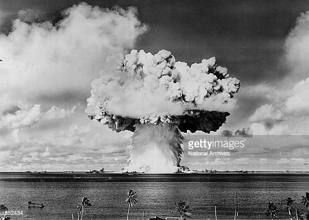 An atomic cloud rises July 25 1946 during the Baker Day blast at Bikini Island in the Pacific