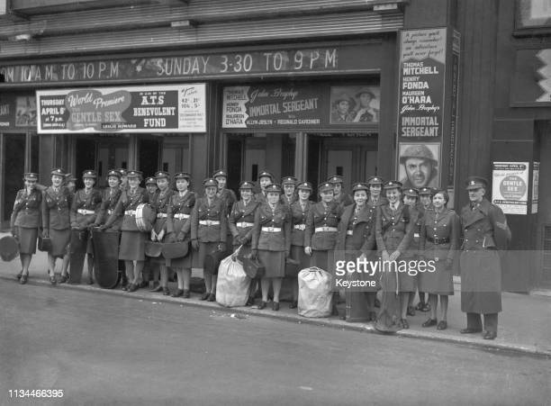 An ATS band outside the Odeon cinema Leicester Square before rehearsals for their performance accompanying the premiere of Leslie Howard's...